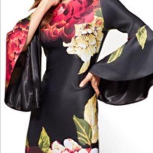 NYC&Co Sheath Dress Flutter Sleeve Black Floral